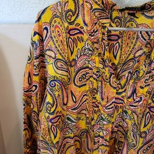 Lauren Ralph Lauren Mustard Paisley Tunic Top 2X